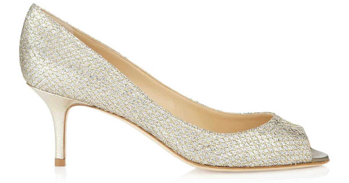 ef9e71a7b82 Lyst - Jimmy Choo Isabel Champagne Glitter Fabric Peep Toe Pumps in Metallic