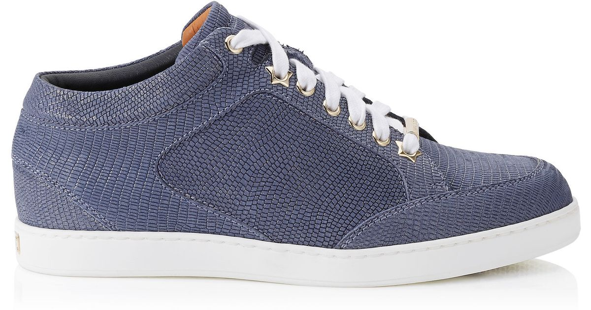5c4958d22e7f Lyst - Jimmy Choo Miami Navy Glitter Printed Leather Low Top Trainers in  Blue