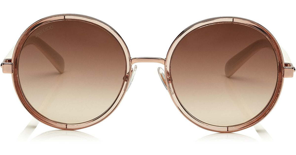 6173391d2278 Lyst - Jimmy Choo Andie White Acetate Round Framed Sunglasses With Gold  Lurex Detailing in Brown