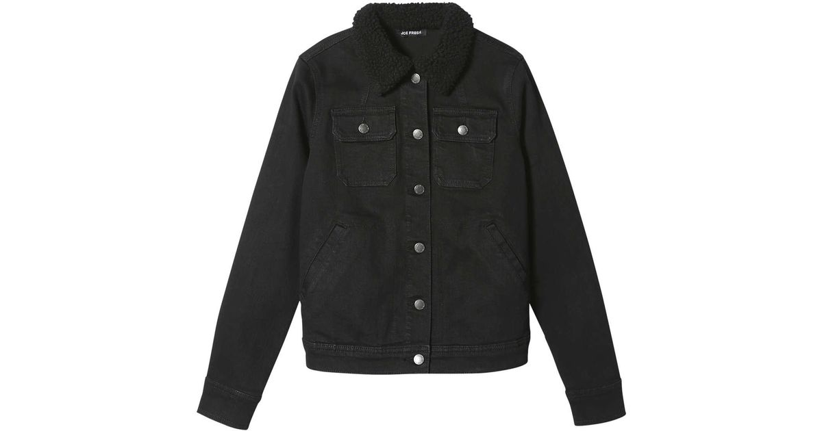 c34ddb0de Joe Fresh - Black Denim Faux Fur Collar Jacket - Lyst