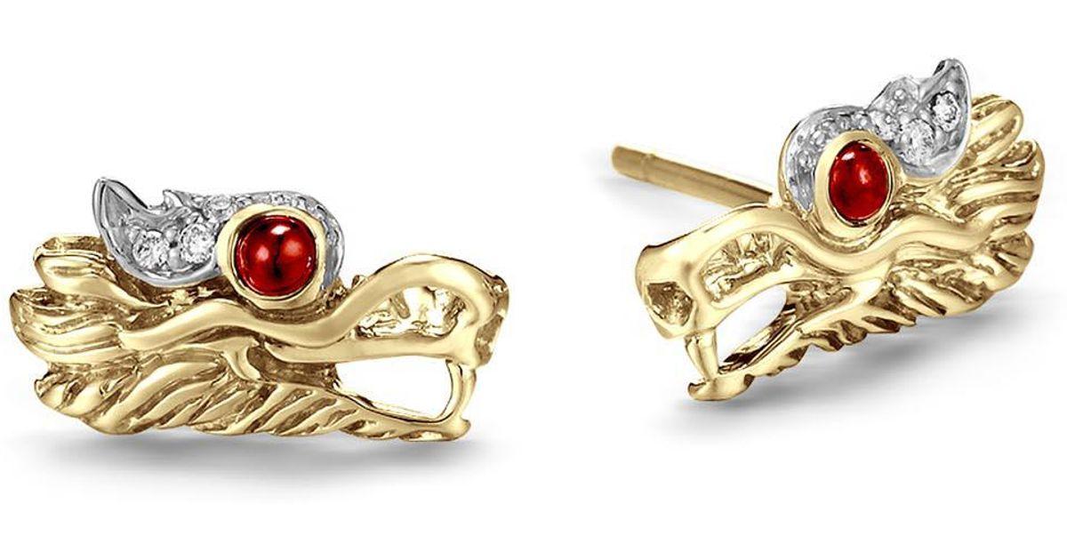 John Hardy Naga Stud Earrings w/ Diamonds ETRhR3