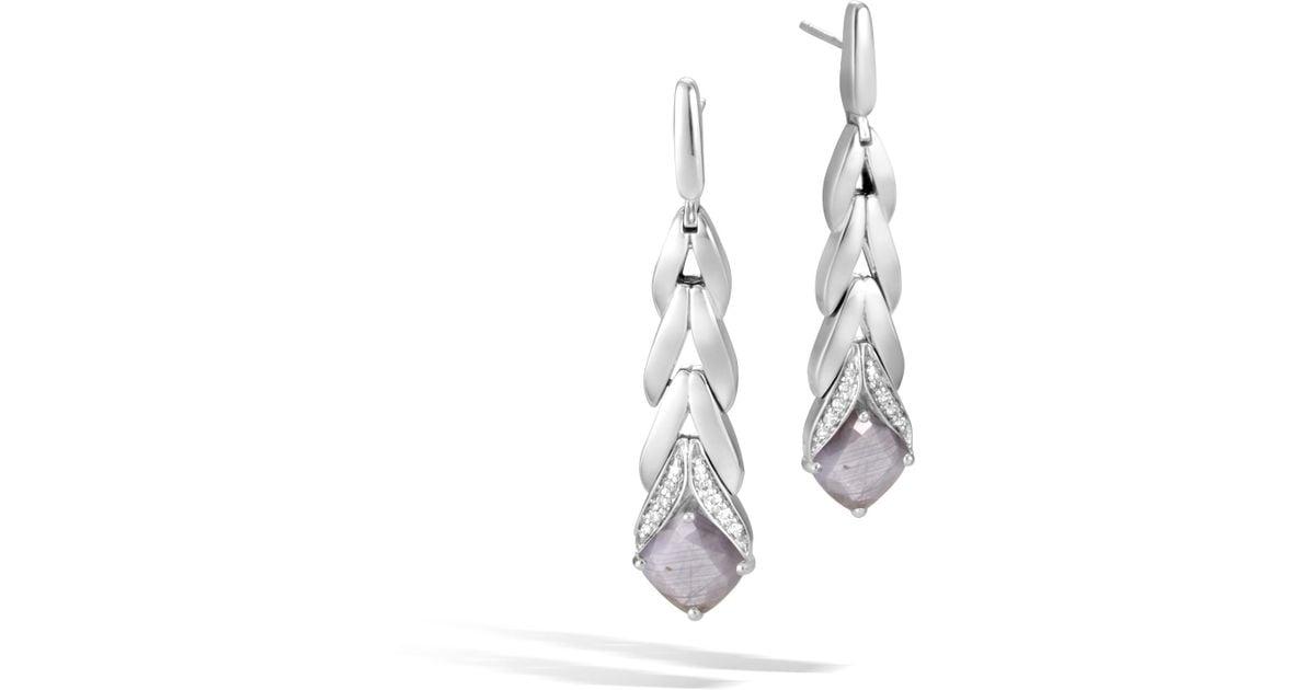 John Hardy Magic Cut Drop Earring With Silver Sapphire And Diamonds Silver sheen sapphire aSjG32E