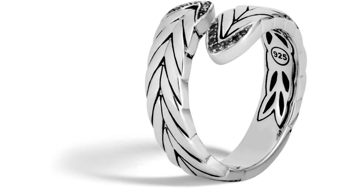 John Hardy Modern Chain Bypass Ring With Black Spinel Z1bqDKVD