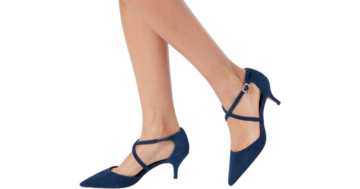 1daab7a4d59 Dune Courtnee Cross Strap Kitten Heel Court Shoes in Blue - Lyst