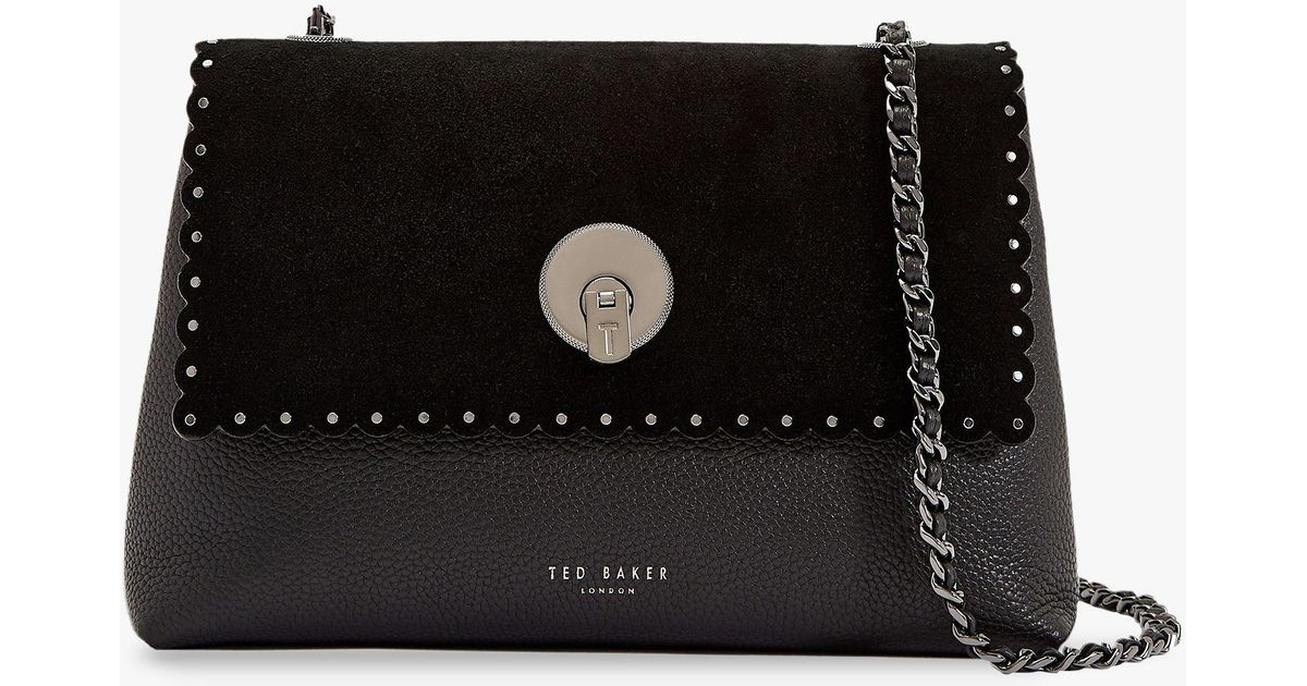 32b5655c31ee Ted Baker Sultane Lock Detail Leather Cross Body Bag in Black - Lyst