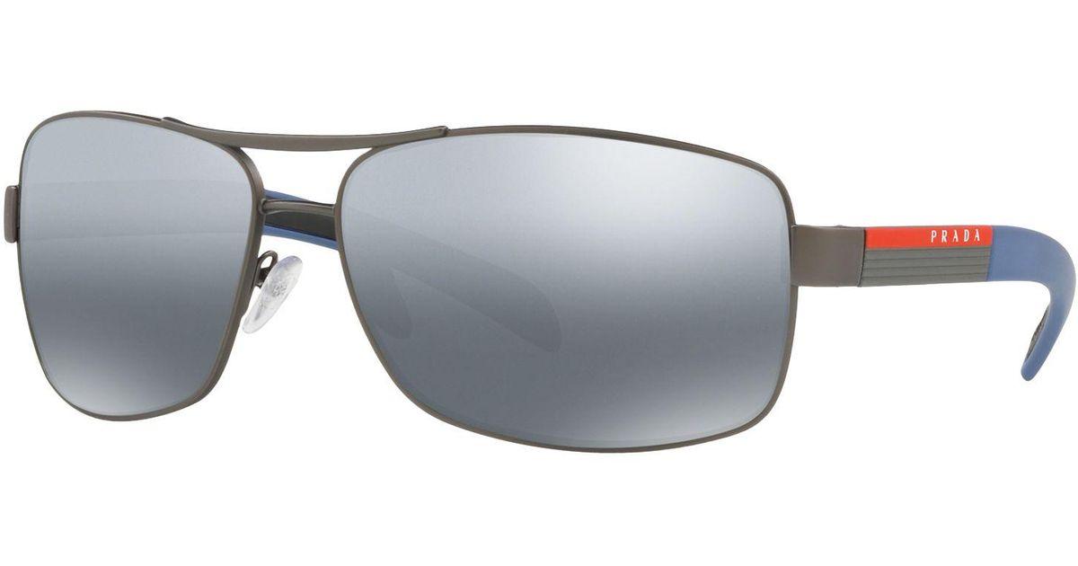 9c07520f17 Prada Linea Rossa Ps 54is Polarised Rectangular Sunglasses in Blue for Men  - Lyst