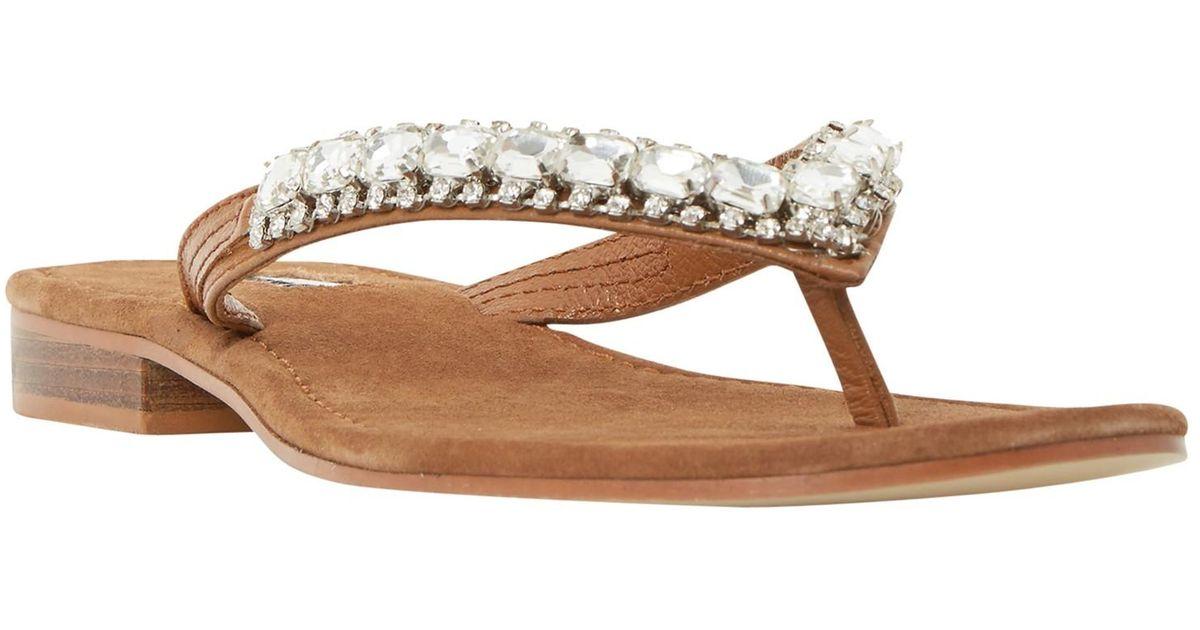 996be4d1068b85 Dune Nevah Diamante Toe Post Flat Sandals in Brown - Lyst