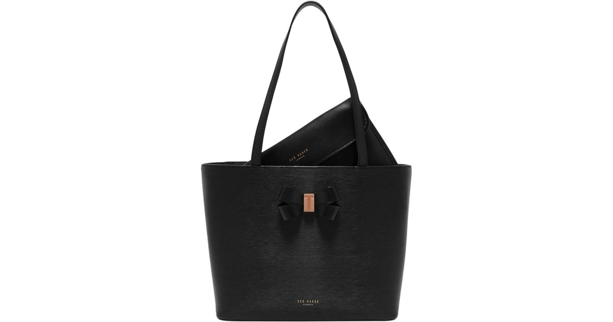 48ef547f1f60a Ted Baker Cattas Leather Bow Detail Shopper Bag in Black - Lyst