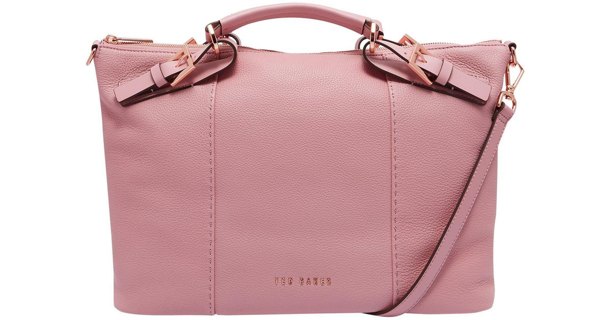 c909a6e65eb Ted Baker Salbee Pop Hand Leather Large Tote Bag in Pink - Lyst