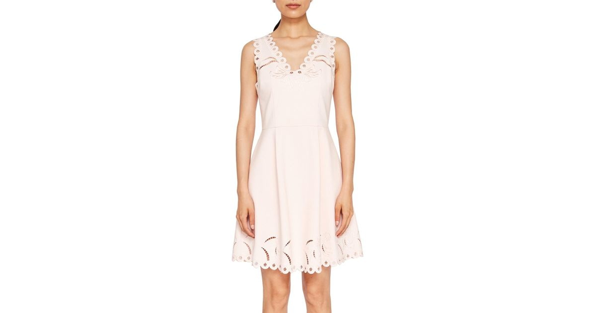 e48985d355 Ted Baker Emalise Embroidered Skater Dress in Pink - Lyst