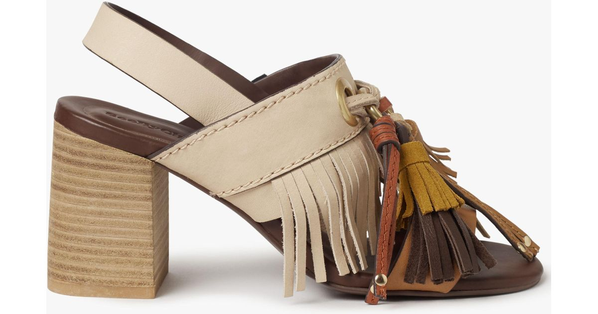 5df6ea925c80 See By Chloé Tania Fringe Block Heel Sandals in Natural - Lyst