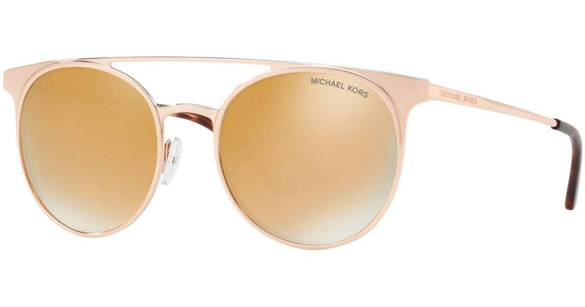 6f18091559 Michael Kors Mk1030 Women s Grayton Round Sunglasses in Metallic - Lyst
