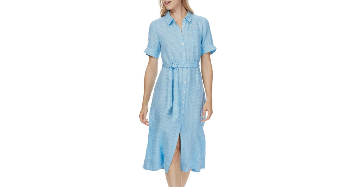 412351a4a8c Brora Checked Linen Shirt Dress in Blue - Lyst