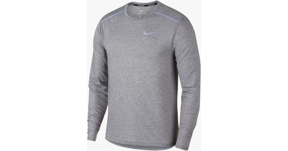 038976fd4 Nike Breathe Rise 365 Long Sleeve Running Top in Gray for Men - Lyst