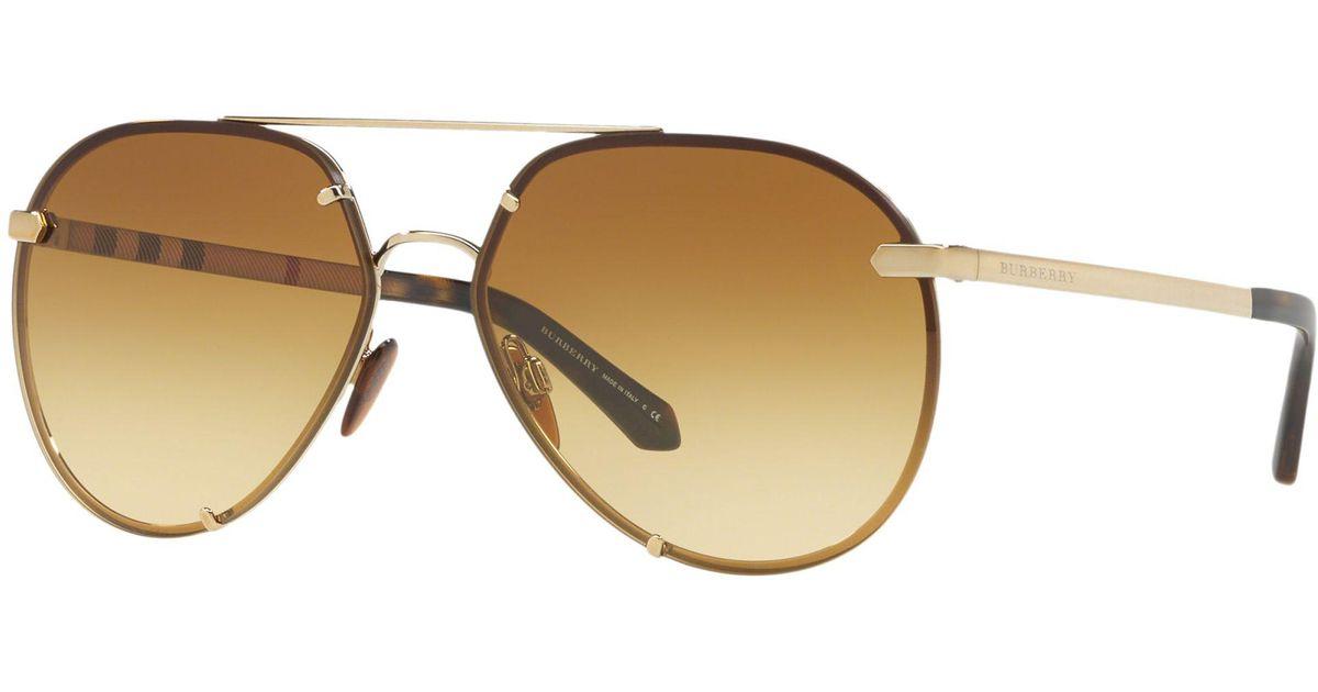2c04c7347 Burberry Be3099 Women's Aviator Sunglasses in Metallic - Lyst