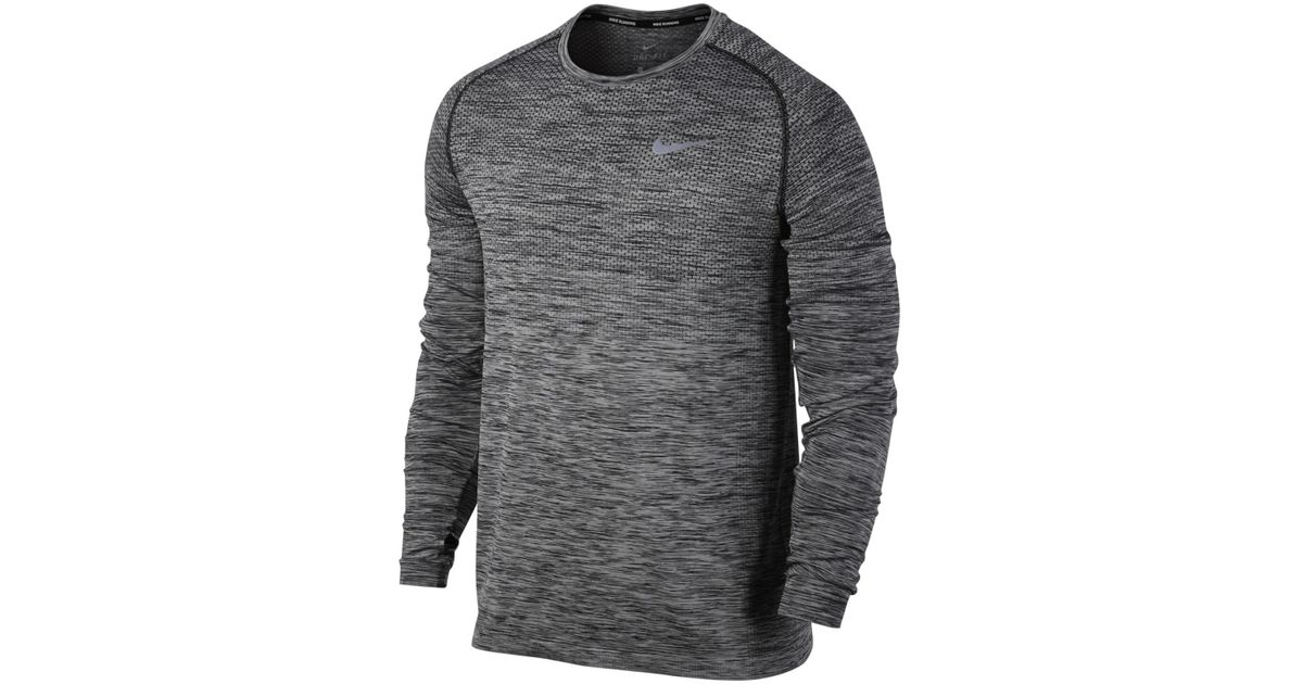 26dd1ade5 Nike Dri-fit Knit Long Sleeve Running Top in Gray for Men - Lyst