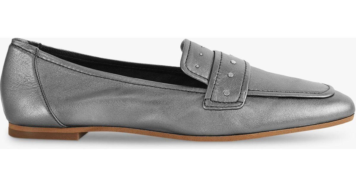 7e2934cbbcb Reiss Elba Metallic Leather Loafers in Metallic - Lyst