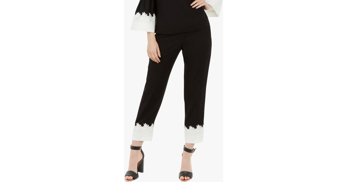 366be58ca59 Ted Baker Fancisa Lace Trim Trousers in Black - Lyst