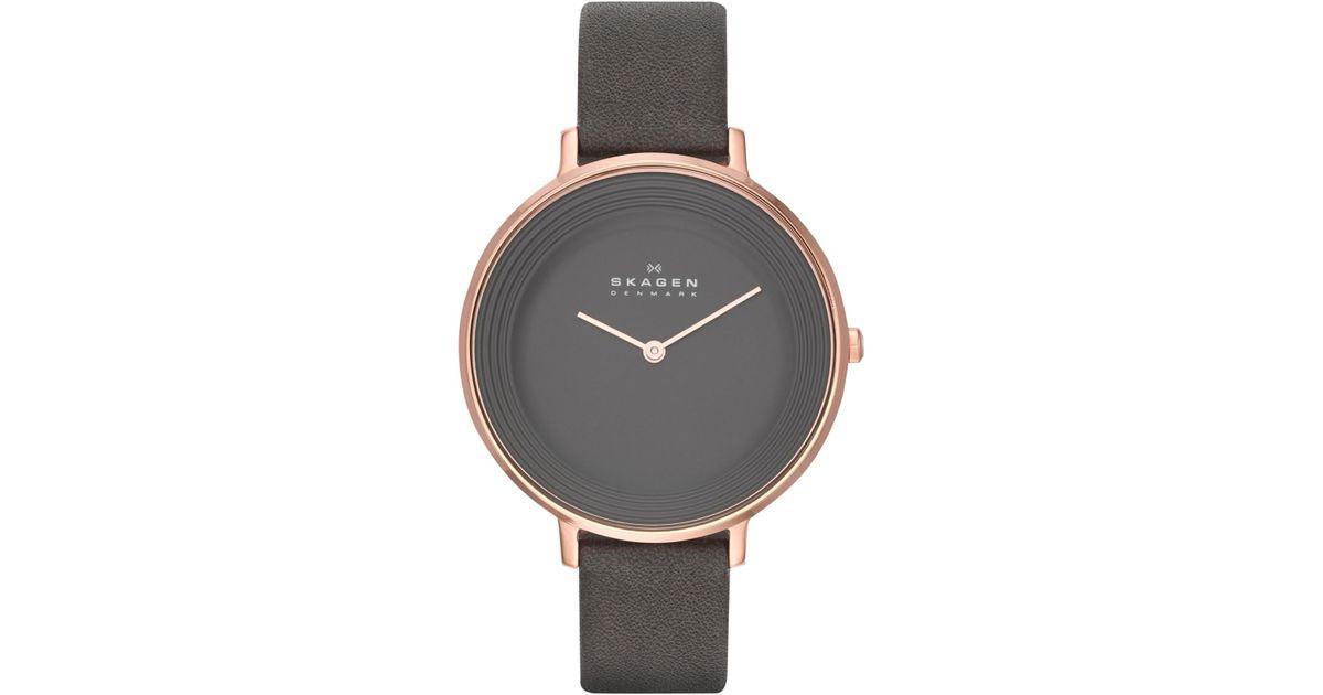 67777bc6a Skagen Skw2216 Women's Ditte Leather Strap Watch in Gray - Lyst