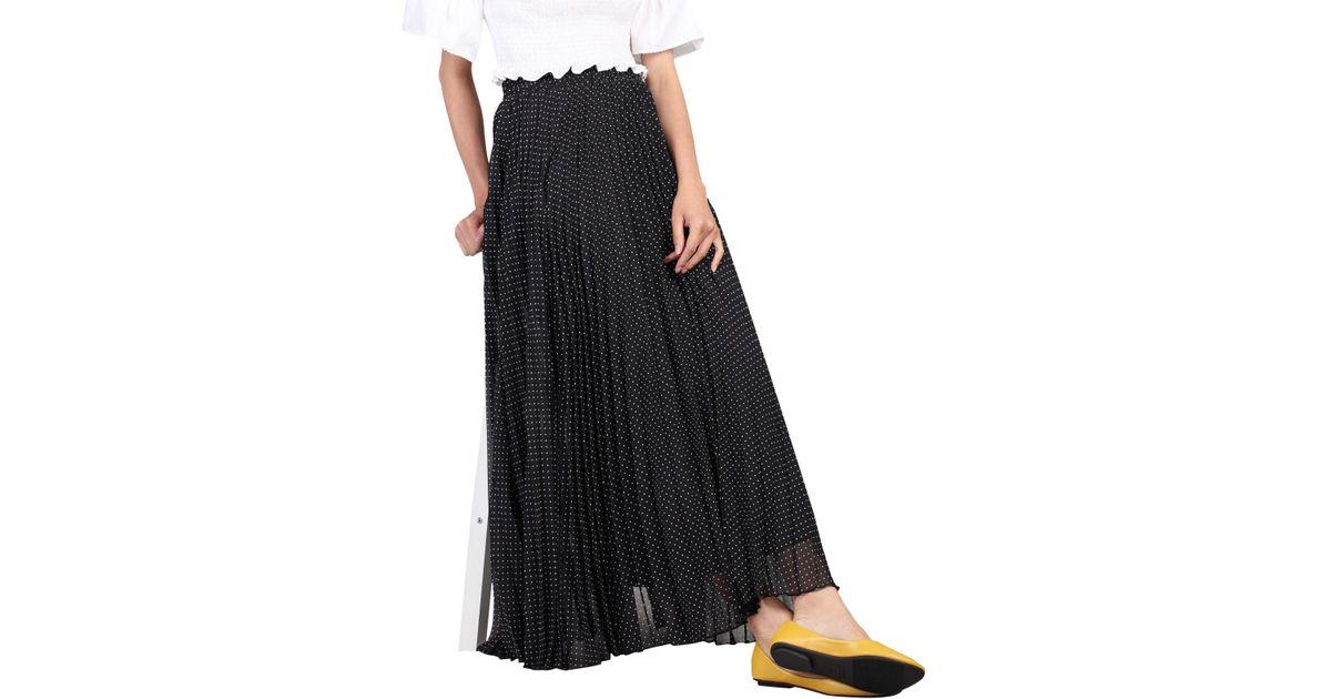 4aabb80bed Jolie Moi Spot Print Pleated Maxi Skirt in Black - Lyst