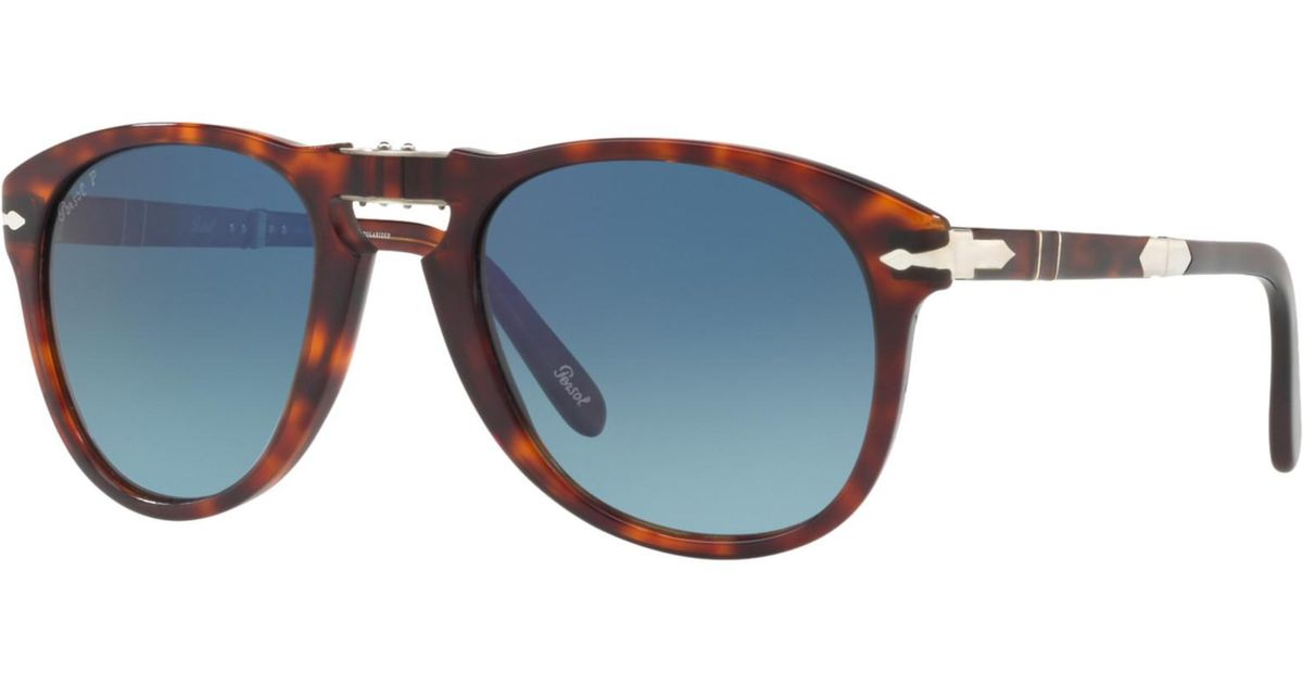 dedb2bff35 Persol Po0714sm Steve Mcqueen Folding Polarised Aviator Sunglasses in Blue  - Lyst