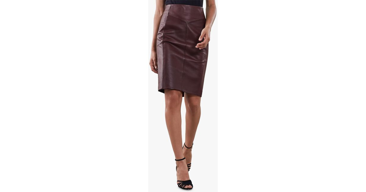 5a7dbd4992 Reiss Megan Leather Skirt - Lyst