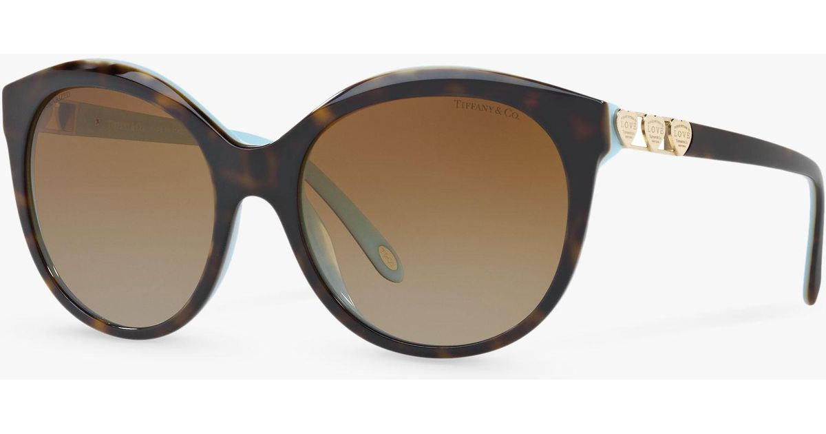 cdfdc73285 Tiffany   Co. Tf4133 Women s Polarised Oval Sunglasses in Brown - Lyst
