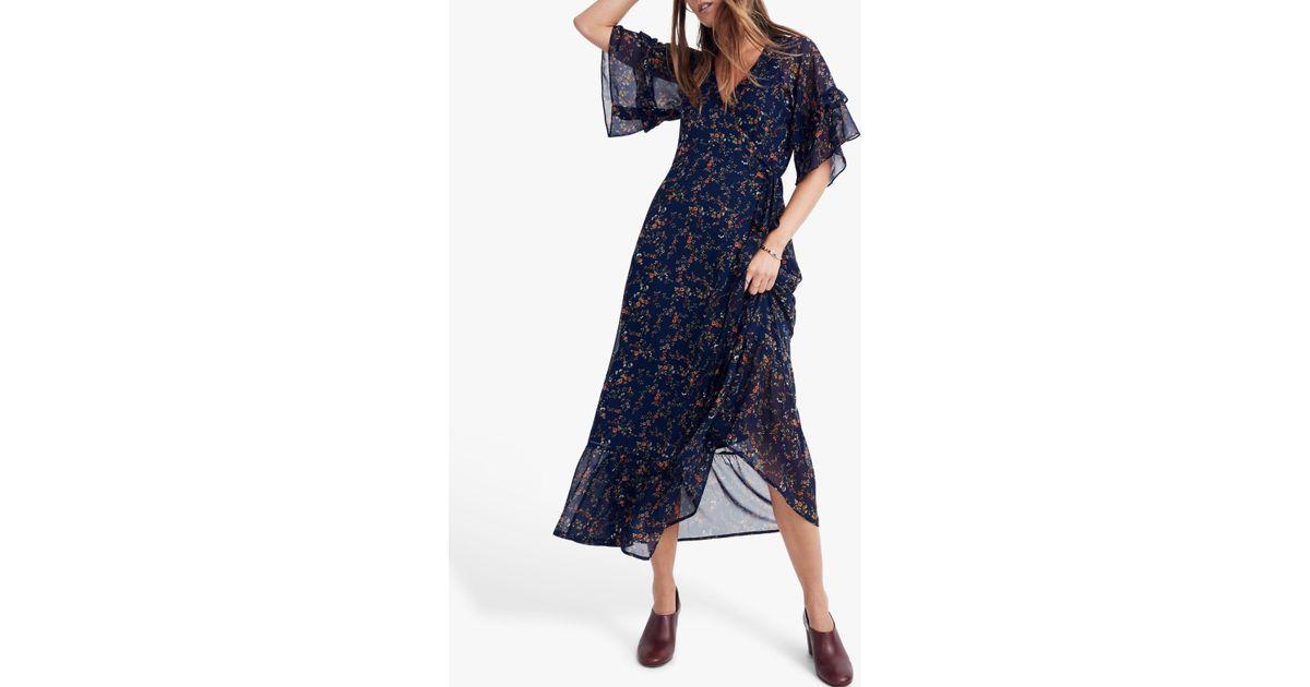 eba6c5c17e6 Madewell Ruffle Wrap Tie Dress in Blue - Lyst