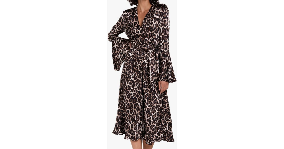 f006e1825def Ghost Annabelle Leopard Print Midi Dress in Brown - Lyst
