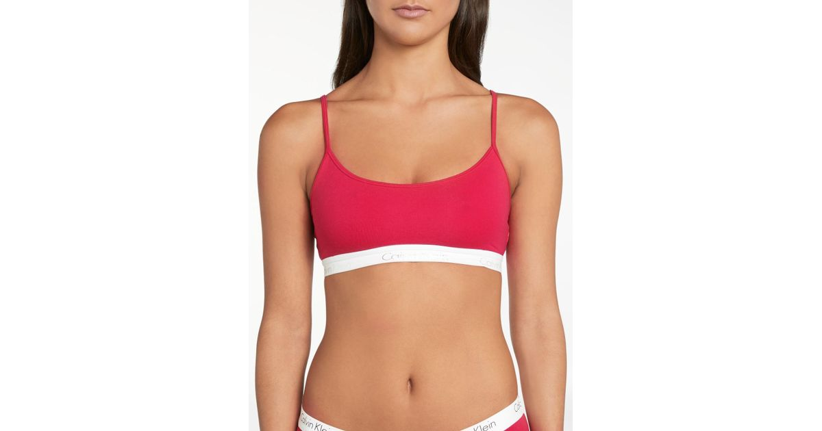 437ffa2a8d Calvin Klein Underwear Ck One Cotton Bralette in Red - Lyst