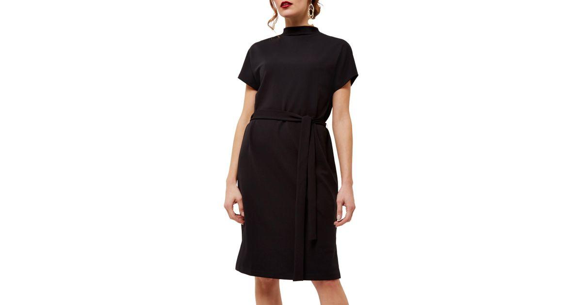 Jaeger Jersey Draped Neck Dress In Black Lyst