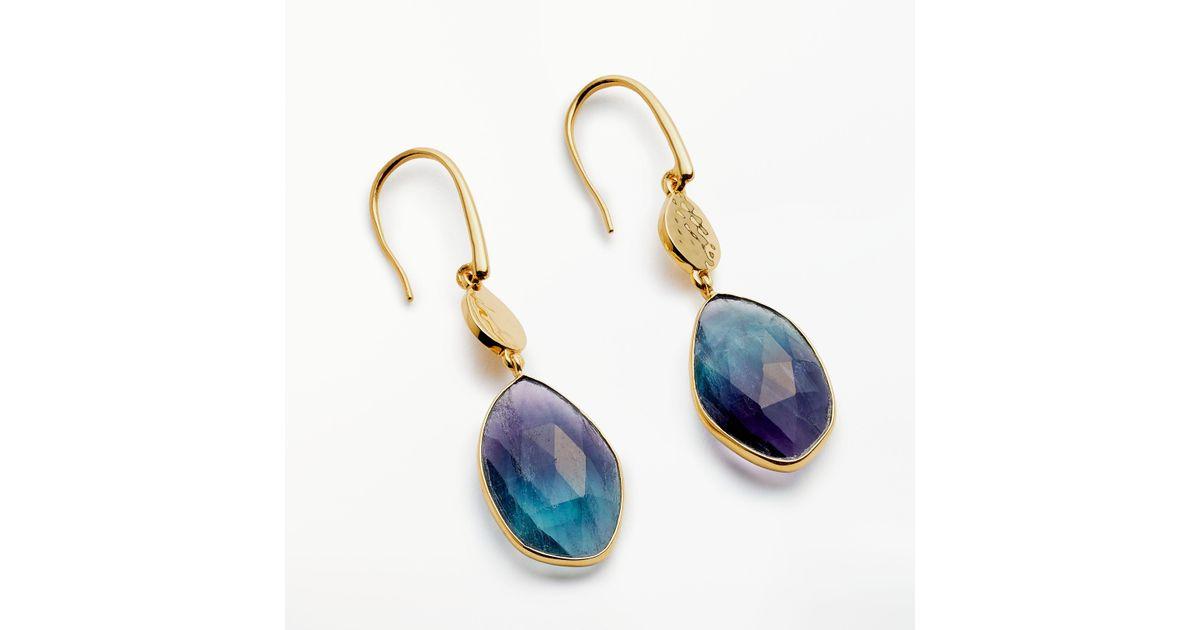 John Lewis Semi Precious Stone Hammered Disc Drop Earrings In Blue Lyst