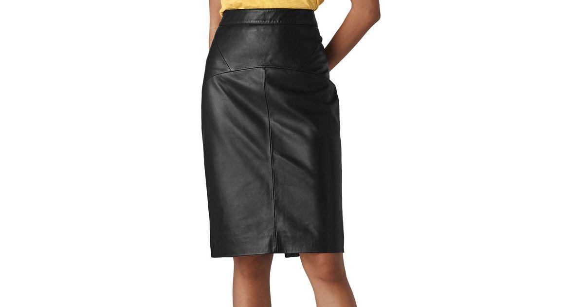 407e8c731b Whistles Kel Leather Pencil Skirt in Black - Lyst