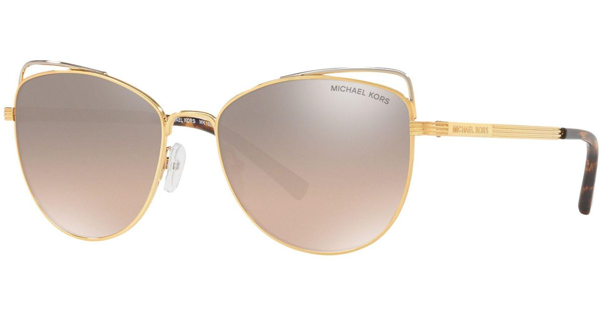 9867947c164 Michael Kors Mk1035 Women s St. Lucia Cat s Eye Sunglasses in Metallic -  Lyst