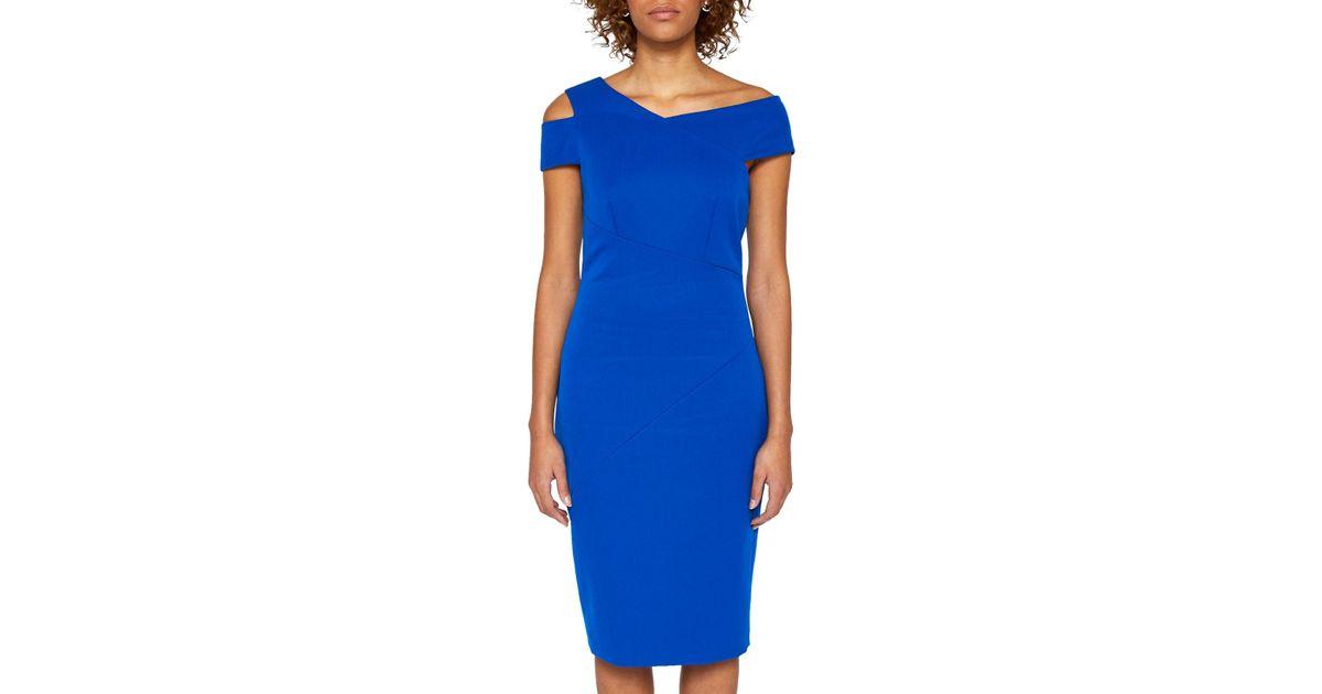 0742c1f05eb6 Ted Baker Yandal Asymmetric Bodycon Dress in Blue - Lyst