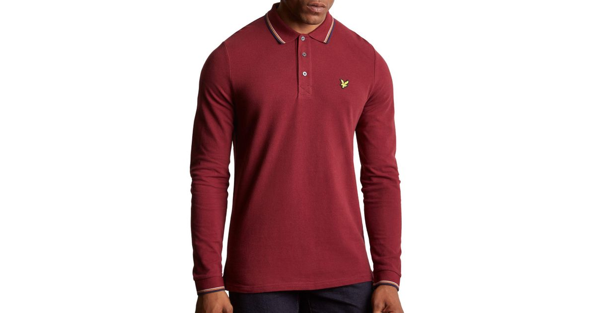 b9aae73da Lyle   Scott Long Sleeve Tipped Polo Shirt in Red for Men - Lyst