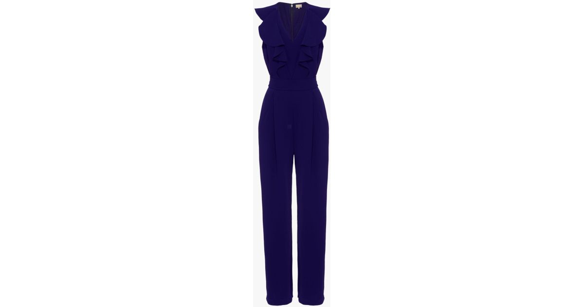 00d28a47795 Phase Eight Linda Frill Jumpsuit in Blue - Lyst