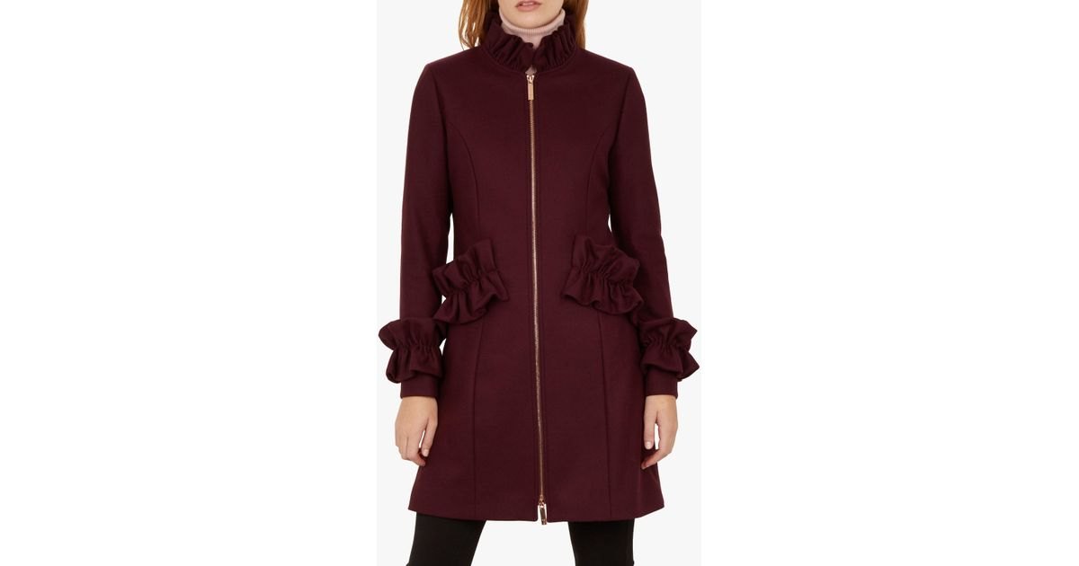 eb773ac0f Ted Baker Blaykly Ruffle Detail Coat in Purple - Lyst