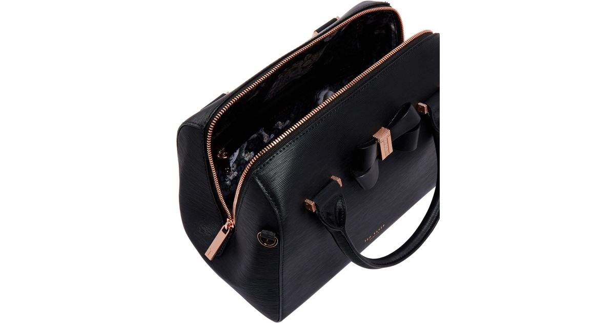 99d8ab79b69246 John Lewis Ted Baker Cacia Leather Bow Detail Bowler Bag in Black - Lyst