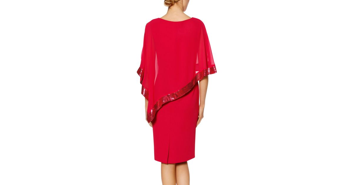 0304c0433f0 John Lewis Gina Bacconi Victoria Sequin Trim Cape Dress in Red - Lyst