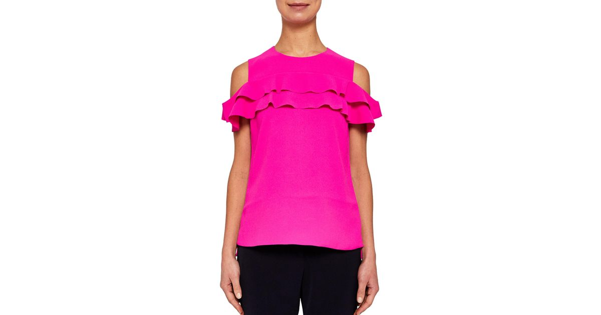 2ff4e61ac0c61 Ted Baker Hopee Cold Shoulder Double Frilled Top in Pink - Lyst