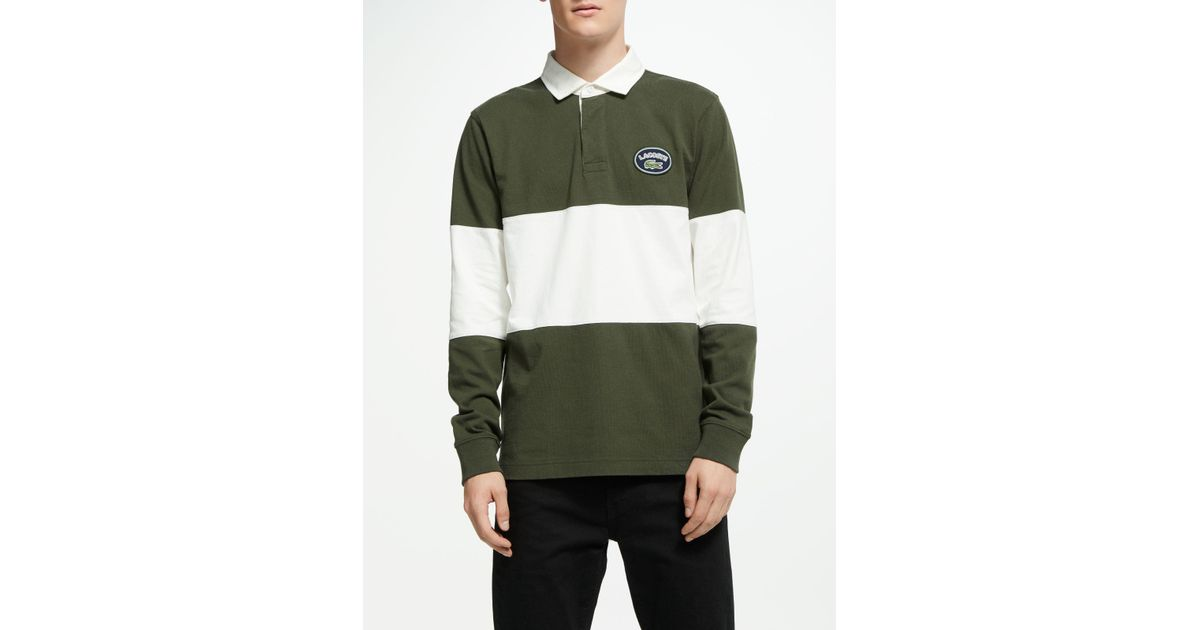 56a5e837 Lacoste Live Heritage Logo Rugby Top in Green for Men - Lyst