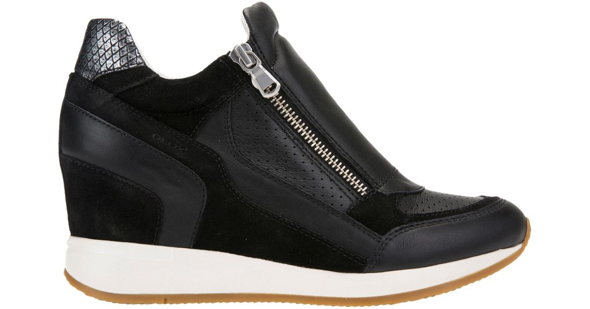 b62d1e628be Geox Nydame Zip Side Lace Up Wedge Trainers in Black - Lyst