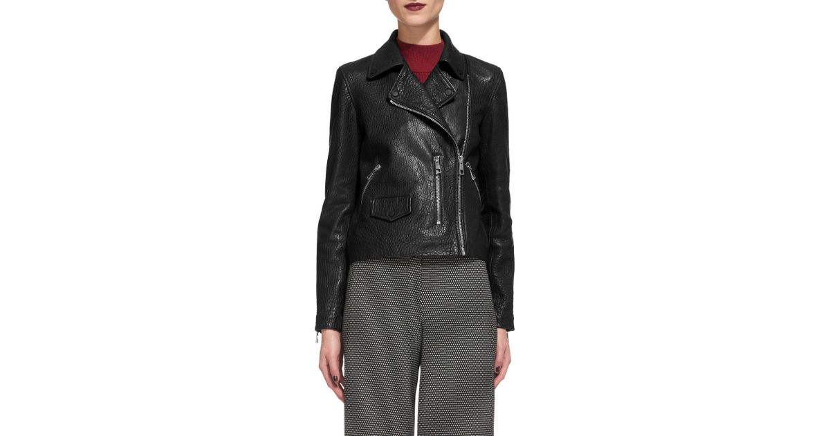 54c313182 Whistles Agnes Bubble Leather Biker Jacket in Black - Lyst