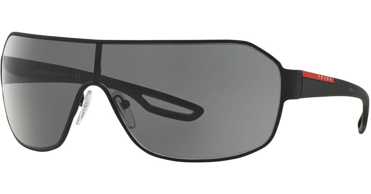 1f78d43c6bd8 ... new zealand prada ps 52qs wraparound sunglasses in black lyst d975c  81c3d
