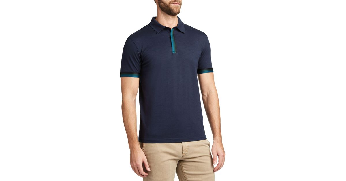 2f4939f15 BOSS Boss Paxto Short Sleeve Polo Shirt in Blue for Men - Lyst