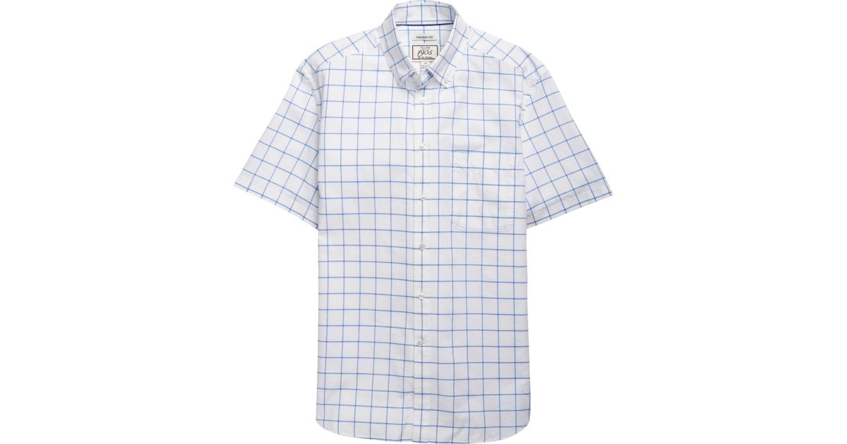 f14b17fb8966 A. Bank 1905 Collection Tailored Fit Button-down Collar Windowpane Short-sleeve  Sportshirt - Big   Tall in Blue for Men
