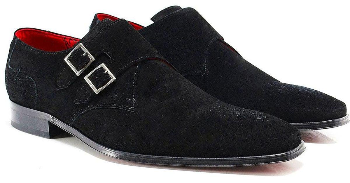 601e2343159f Jeffery West Suede Scarface Double Monk Strap Shoes in Black for Men - Lyst