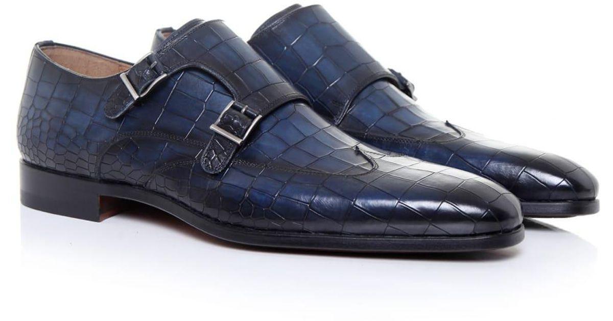 6b494771c9a Magnanni Mock Croc Monk Strap Shoes in Blue for Men - Lyst
