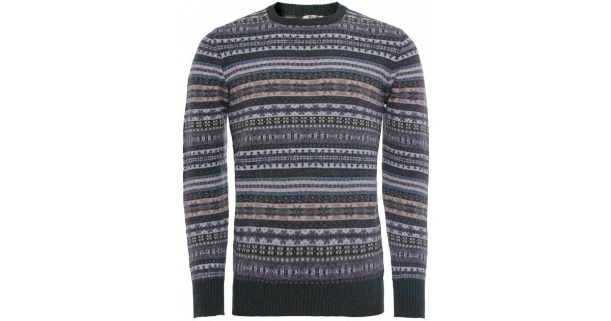 William lockie Lambswool Fair Isle Sweater in Green for Men | Lyst